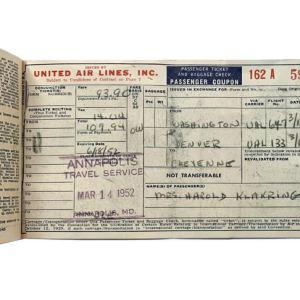 United Air Lines Ticket & Envelope 1952
