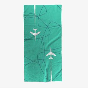 Mid-Century Jet-Age Overseas Travel Beach Towel – TEAL