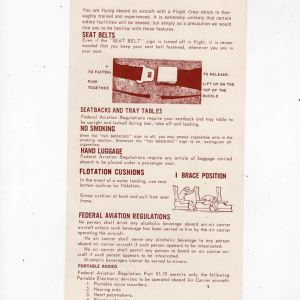 Western Airlines Boeing 737 Safety Card 10/83