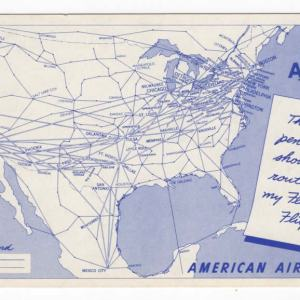 American Airlines Classic Route Map Postcard