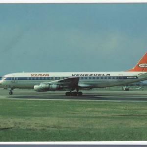 VIASA Airlines Douglas DC-8-53 Postcard