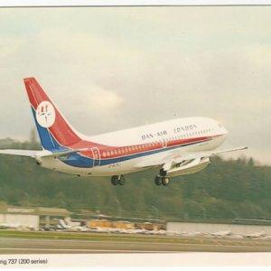 Dan-Air London Boeing 737-200 Postcard