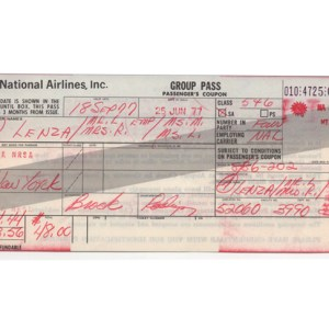 National Airlines Passenger Ticket