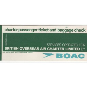 BOAC Airlines Passenger Charter Ticket