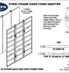 gates 4 steel frame form adapter gang form with standard steel frame panels gates 9 side lock 3 x3 tie spacing taper ties or she bolts w 1 2  [ 1024 x 792 Pixel ]