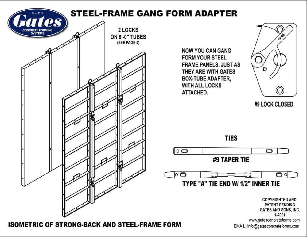 medium resolution of gates 4 steel frame form adapter gang form with standard steel frame panels gates 9 side lock 3 x3 tie spacing taper ties or she bolts w 1 2