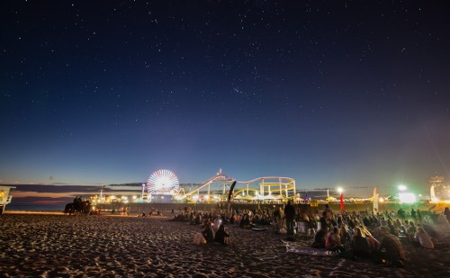 The beach crowd enjoying the music, Santa Monica Pier