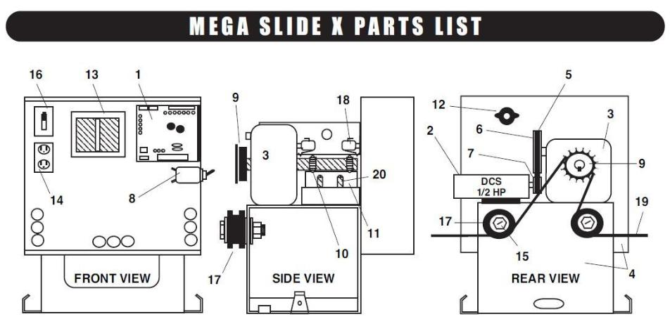 Liftmaster Parts MEGA SLIDE X Part Liftmaster Parts