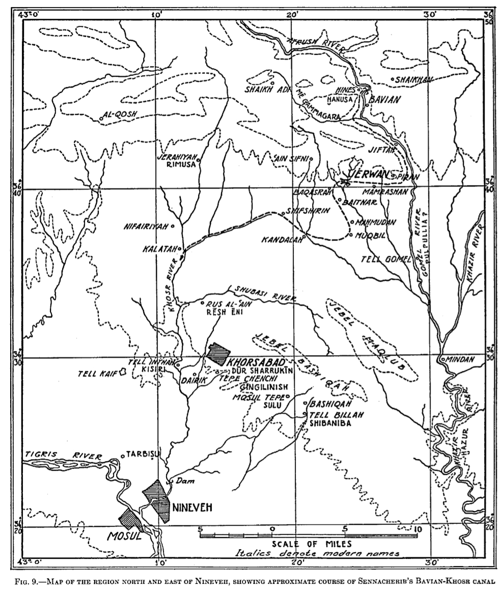 Map of the bavian jerwan nineveh canal