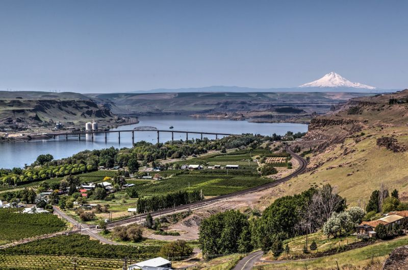 View towards the Columbia River and Mount Hood