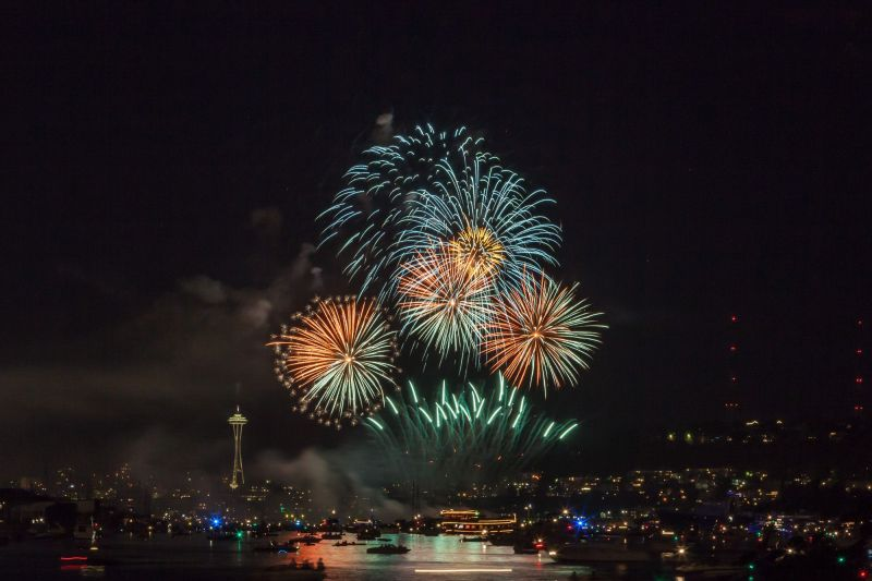 4th of July 2015 fireworks over Lake Union