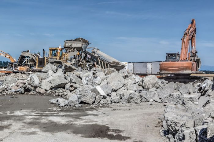 Crushing of existing concrete of the runway