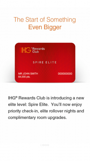 Notivication about the Spire Elite Level in the IHG App