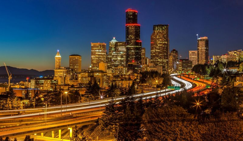 Downtown Seattle by night from the Doctor Jose P Rizal Bridge