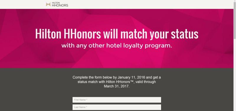Hilton Status Match Website