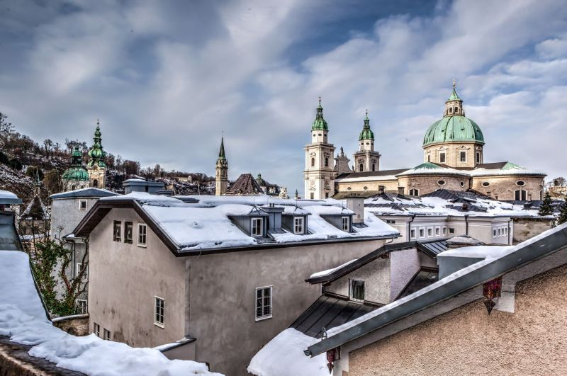Salzburg Cathedral and old historic town.