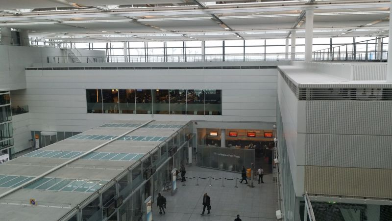 Security Checkpoint in Terminal 2 and Lufthansa First Class Lounge