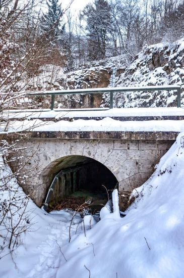Exit of the Tunnel on the other Side. At the very top of the image you can see the height of the Railroad Tracks.