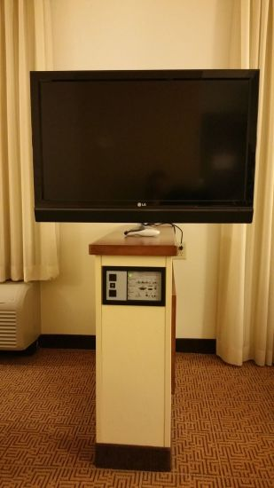 TV with connection panel