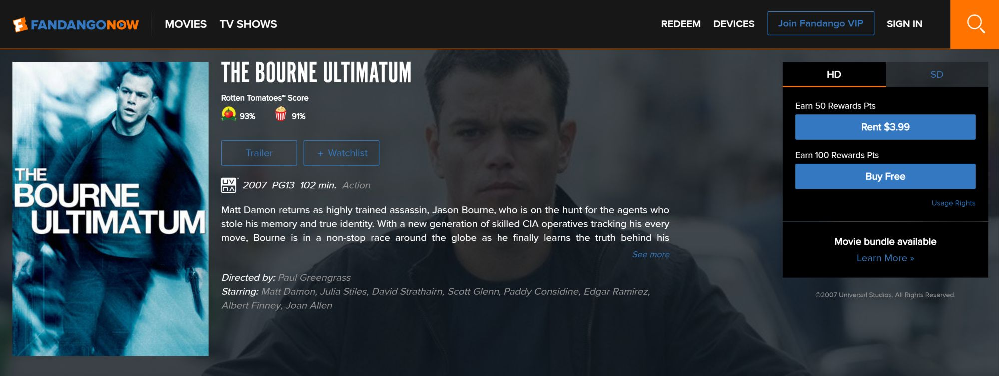 Hot Deal: Get the Bourne Ultimatum for Free
