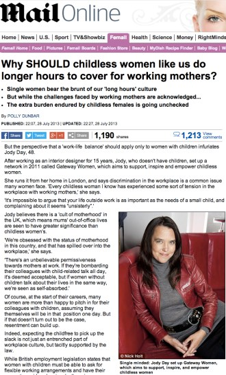 Daily Mail, work-life-balance by Polly Dunbar, Mon 29 July 2013