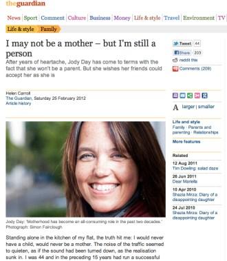 Guardian - 25 Feb 2011 - Interview with Jody Day - Founder - Gateway Women - www.gateway-women.com