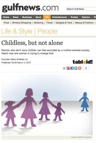 Gulf News - Childless, but not alone - Jody Day - Gateway Women - 3 March 2012