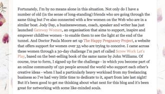 Gateway Women mentioned on 'Just As I am Experiment' Blog, 14 April 2011