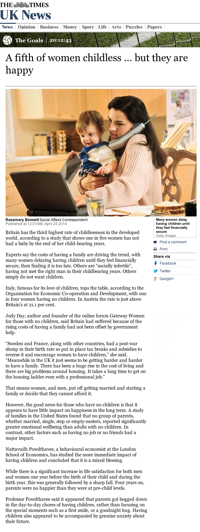 The Times – childless women in UK