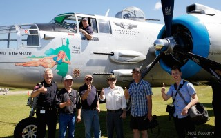 The group who got to ride in the B-25 yesterday (July 7th). Media, sponsors, a very lovely Veteran and of course, Nathan Ellard who won his flight right here on Facebook. (posted on Airdrie Regional Airshow Facebook page)