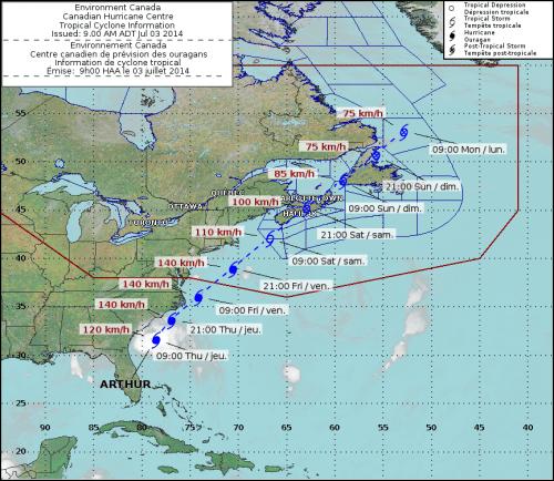 Tracking Hurricane Arthur
