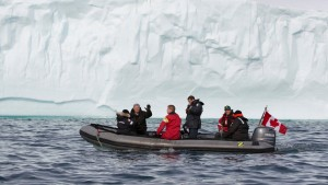 Prime Minister Stephen Harper explores part of the Northwest Passage on board a zodiac during his ninth annual tour of Canada's northern territories. (Photo courtesy Office of PM)