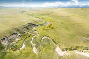 Aerial of Waldron with cowboy trail, Photo by Kyle Marquardt, kylefoto.com