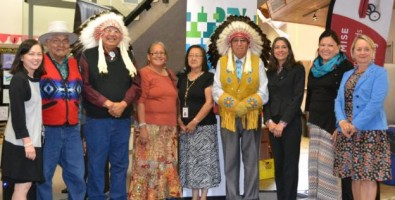 Blackfoot elders with Judy Eng-Hum, Executive Director of Alberta's Promise (left); Mary Jane Loustel, IBM Aboriginal Program Executive (third from right); Tanya Pace Crosschild, Executive Director of Opokaa'sin Early Intervention Society (second from right); and Bernie Kollman, Vice President of Public Sector Alberta, IBM, and Northern Vice-Chair for the Premier's Council on Alberta's Promise (right).