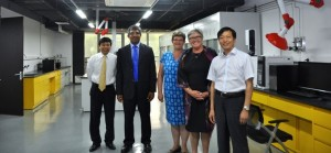 From left: John Chen, Beijing Site director; Janaka Ruwanpura, vice-provost (international); Lisa Young, dean and vice-provost (graduate studies); Dru Marshall, provost and vice-president (academic); and Qinghong Rong, vice-president at Kerui Group.