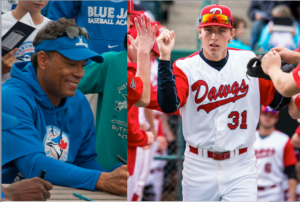 (Photo: Roberto Alomar, left, will speak at the 2015 Okotoks Dawgs Hall of Fame and Awards Banquet, where Connor Crane, right, and three other Dawgs players will be recognized.)