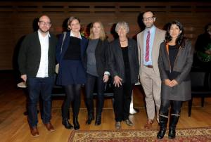 2014 Giller Prize finalists (left to right) Sean Michaels (Us Conductors); Heather O'Neill (The Girl Who Was Saturday Night); Miriam Toews (All My Puny Sorrows); Frances Itani (Tell); David Bezmozgis (The Betrayers); Padma Viswanathan (The Ever After in Ashwin Rao)