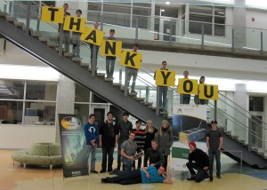 The student team behind the Alberta satellite project show their gratitude to crowdfunding supporters