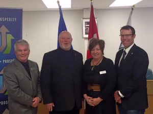 (L to R) CAO Barry Williamson, MLA Ron Casey, Mayor Kelly Tuck and MP John Barlow