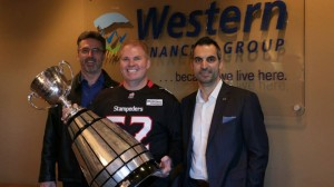 Gordon Norrie, President, Calgary Stampeders; Jeff Burke, President and CEO, Western Financial Group; Mike Mungiello, Senior Director, Corporate Sponsorships, Calgary Flames and Calgary Stampeders