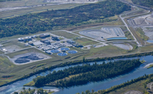 An aerial view of the Advancing Canadian Wastewater Assets facility at the Pine Creek Wastewater Treatment Plant in south Calgary. The project is the world's first fully integrated, fully contained university research facility located within an operating industrial wastewater treatment plant.