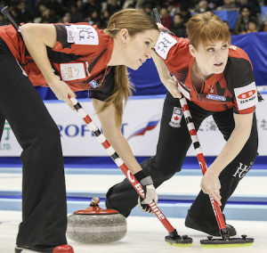 Canada's Kaitlyn Lawes, left, and Dawn McEwen. (Photo, WCF/Richard Gray)