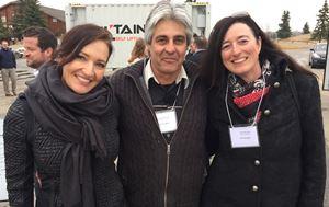 L to R: Leslie Kraatz (Mrs. Calgary), Malcolm Duncan, owner of Excalibur Shelters, Alexandra Ross, Okotoks Economic Development Specialist