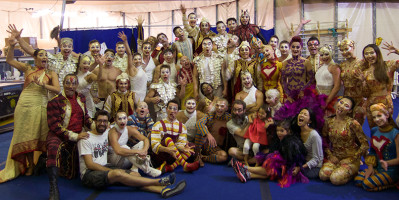 The Gosselin family (seated in front) poses for a photo with a tent-full of Cirque du Soleil artists. (Photo courtesy Gerald Gosselin)