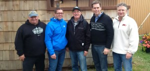 L to R: MP Larry Miller, MP Bob Zimmer, MP Garry Breitkreuz, MP Russ Hiebert, and MP Blaine Calkins at the Stittsville Shooting Ranges