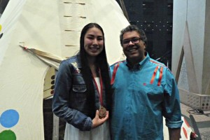 Macyn Morning Bull, Youth Achievement Award winner with Mayor Nenshi