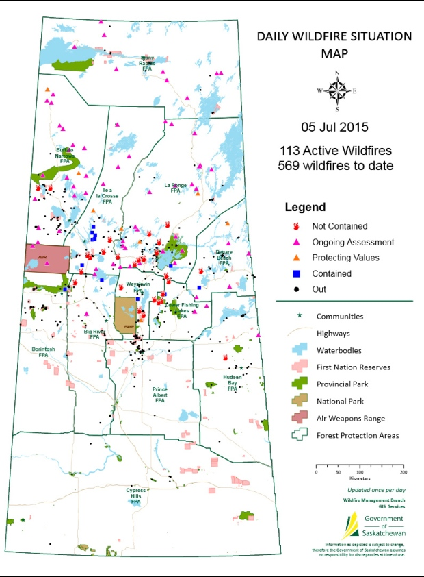 SK wildfire map