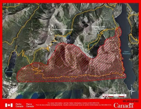 Waterton fire map