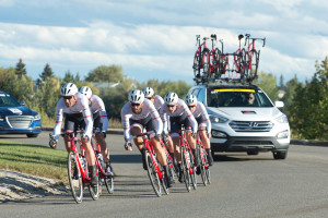 Trek was the surprise winner in the Tour of Alberta team time trial, edging the favorite Orica GreenEdge by less than a second. Photo: Casey B. Gibson