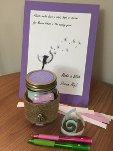Staff and volunteers wrote out their hopes and wishes for the coming year at the shelter.  Wish jars are one of the staff-lead creative healing activities done with residents to build relationships and connect in a more casual environment.